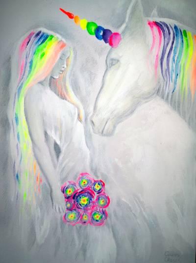 Printesa si unicornul, pictura