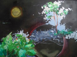 Picturi abstracte/ moderne Forest at night