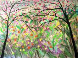 Picturi abstracte/ moderne Ploaie de flori