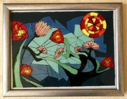 Picturi abstracte/ moderne Soare si flori in culori