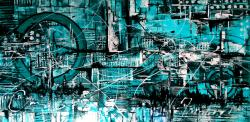 Picturi abstracte/ moderne Turquoise Nr 17