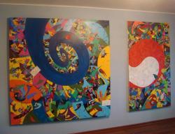 "Picturi abstracte/ moderne ""Spirala de Timp. Mandala"" si ""YangYin. Frunze-n vant"" - pe perete"