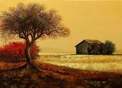 Picturi abstracte/ moderne peisaj cu cerul ocru E.S. 2017
