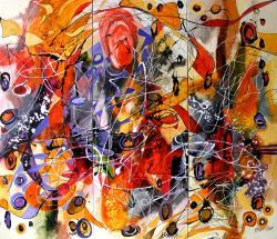 Picturi abstracte/ moderne Curcubeul din gradina