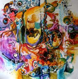 Picturi abstracte/ moderne Ingerii joaca popice