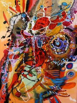 Picturi abstracte/ moderne Ochiul beiului pe verticala