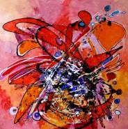 Picturi abstracte/ moderne Tablou in ulei pe panza rubin neslefuit