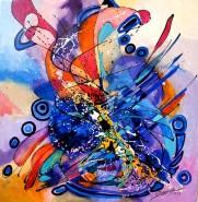 Picturi abstracte/ moderne Visand la pasarea albastra
