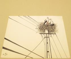 Picturi abstracte/ moderne The nest of storks - Perspectives - Nature and humans