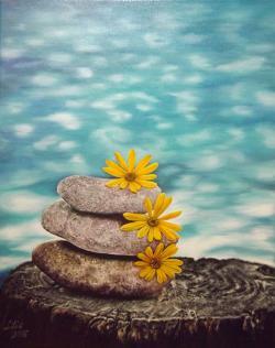 Picturi abstracte/ moderne 3 pietre cu 3 flori