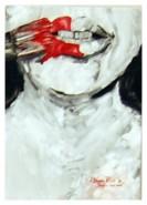 Picturi abstracte/ moderne Omul cu buze rosii