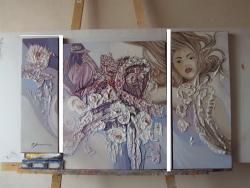 Picturi abstracte/ moderne chip impletit cu petale albe--ff00