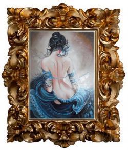 Picturi cu potrete/nuduri femeia in albastru---99c