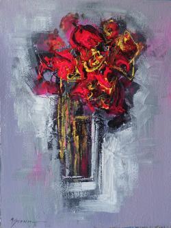Picturi abstracte/ moderne flori de gradina rosii--99z70