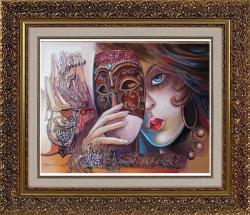 Picturi abstracte/ moderne masca venetiana cu sclipiri magice