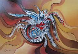 Picturi abstracte/ moderne planeta cu spirale--h56