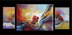 Picturi abstracte/ moderne soare cu fata aurie  w1