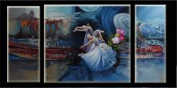 Picturi abstracte/ moderne triptik abstract  balerine in mijlocul galaxie  22