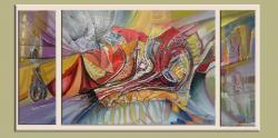 Picturi abstracte/ moderne triptic-culoarul fericirii