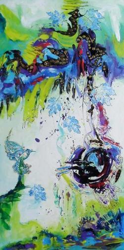 Picturi abstracte/ moderne Colibriul de topaz