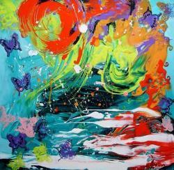 Picturi abstracte/ moderne Prin troianul de fluturi