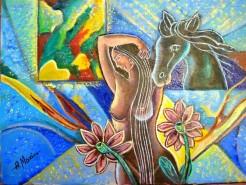 Picturi abstracte/ moderne Elena si calul troian