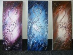 Picturi abstracte/ moderne Paun trio