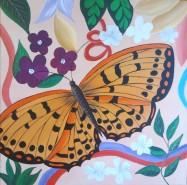 Picturi abstracte/ moderne Fluture si flori 6