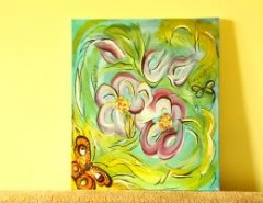 Picturi abstracte/ moderne Simfonia florilor si fluturilor