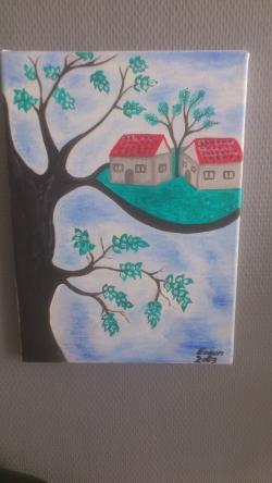 Picturi abstracte/ moderne pe o frunza