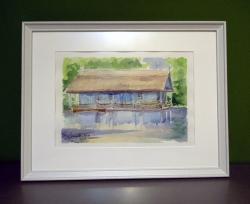 Picturi acuarela Casa de pe lacul Herastrau