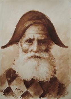 Picturi acuarela batranul arlechin, tus pe hartie
