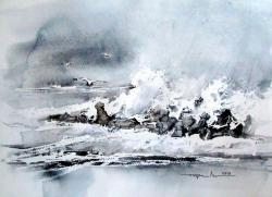 Picturi acuarela Marea Neagra in decembrie