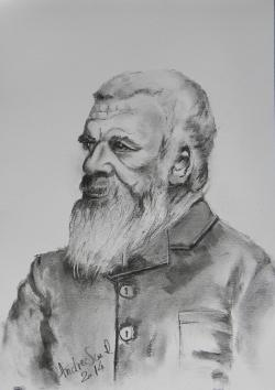Picturi alb negru BATRAN RUS