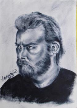 Picturi alb negru PORTRET DE BARBAT CU BARBA