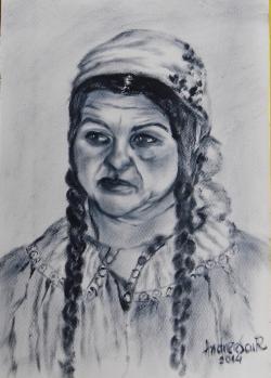 Picturi alb negru PORTRET DE TIGANCA