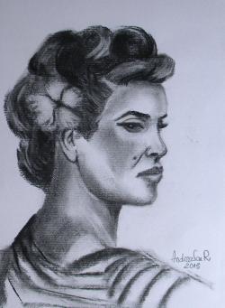 Picturi alb negru PROFIL DE FEMEIE