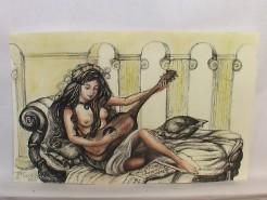 Picturi alb negru Nud cu chitara