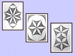 Picturi alb negru Set 3 tablouri originale, motiv geometric