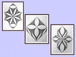 Picturi alb negru setul-2-3 tablouri originale, motiv gepmetric
