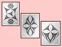 Picturi alb negru setul 3 - 3 tablouri originale - motiv geometric