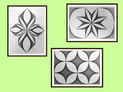 Picturi alb negru setul 6 - 3 tablouri originale, motiv geometric