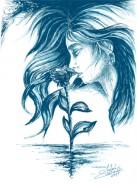 Picturi alb negru Eminescu-floare albastra