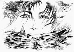 Picturi alb negru Eminescu-un singur dor