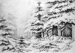 Picturi alb negru Iarna pe inserat