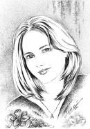 Picturi alb negru Portret de femeie