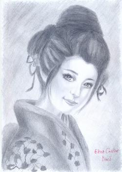 Picturi alb negru Gheisha in creion