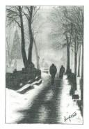 Picturi alb negru Dimineata de iarna