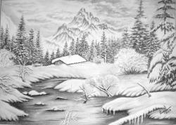 Picturi alb negru La cabana din padure
