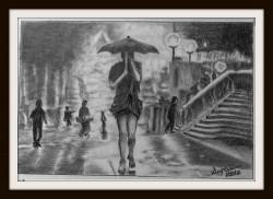 Picturi alb negru Noaptea prin ploaie